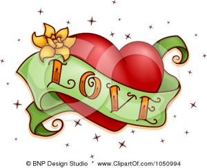 1050994-Royalty-Free-Vector-Clip-Art-Illustration-Of-A-Green-Love-Banner-And-Red-Heart-Tattoo