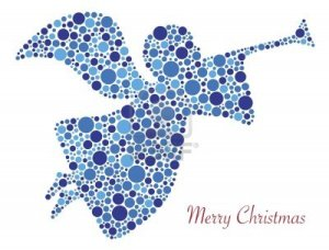 16403121-christmas-angel-trumpet-silhouette-in-polka-dots-with-merry-christmas-text-illustration