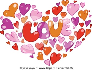 85265-Royalty-Free-RF-Clipart-Illustration-Of-Orange-Pink-Purple-And-Red-Hearts-Forming-A-Heart-Around-The-Word-LOVE