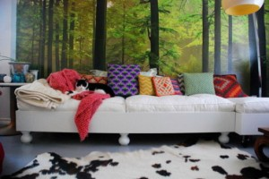 White-Living-Room-with-Forest-Murals-527x353