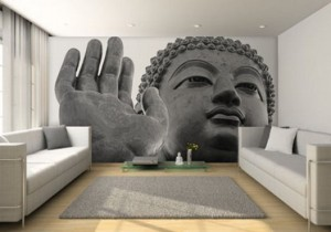 White-Living-Room-with-Temple-Wall-Murals-Painting-527x369