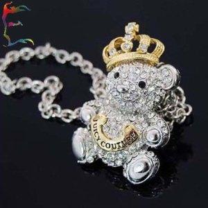 Wholesale-Fashion-Gold-Crown-Teddy-Bear-pendant-necklace-12pcs-Lot-silver-full-rhinestone-diamond-jewelry-Free