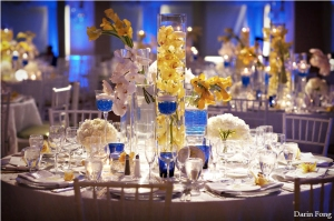 details-hotel-del-coronado-cobalt-white-yellow-wedding-centerpiece